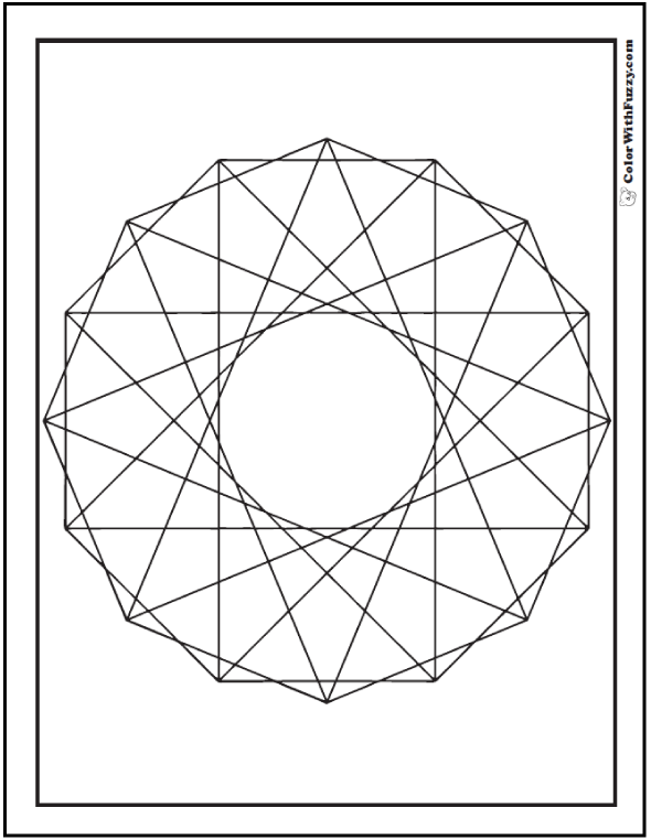 Geometric Spirograph Coloring Pages: Tangent lines, triangles, and rectangles.