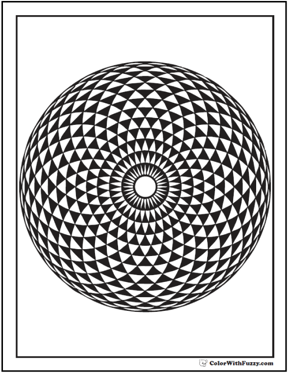 Geometric Sunflower Coloring Page: Sunflower seeds design.