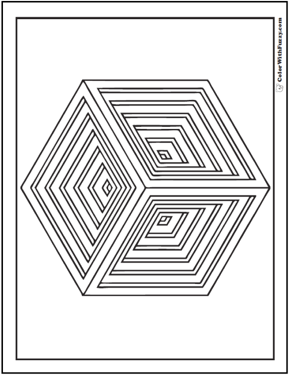 Indented Cube Coloring Sheet