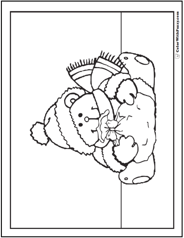 Bearing Gifts Teddy Bear Printable Coloring Page