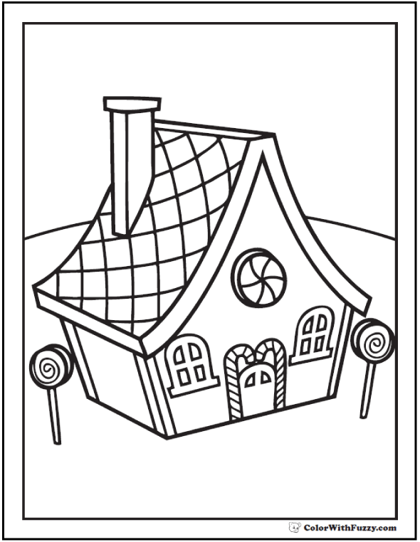 Gingerbread House Coloring Page: Lolly pops and peppermints.