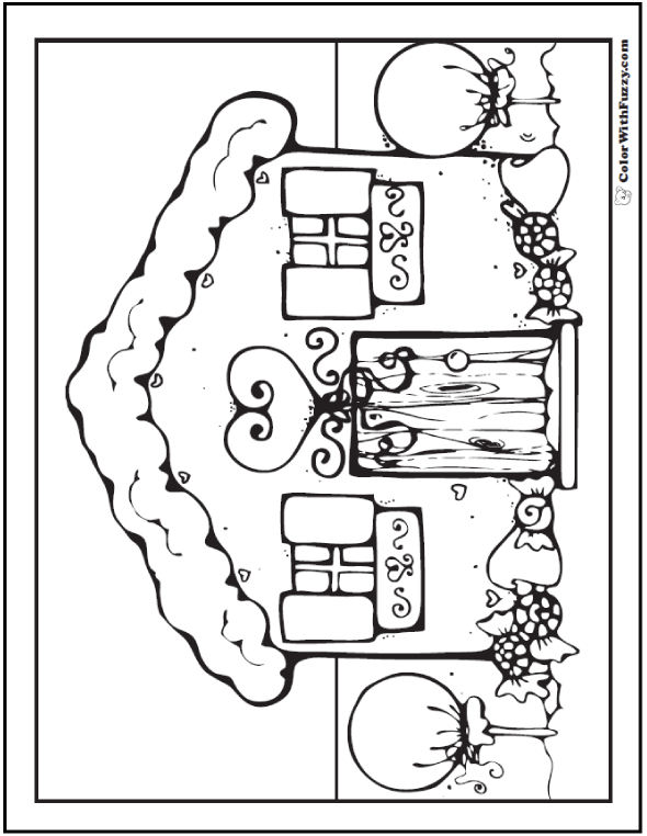 Adult Coloring Page Gingerbread House Picture