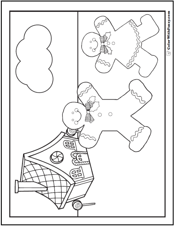 Gingerbread Man Coloring Page: House, Man, Woman