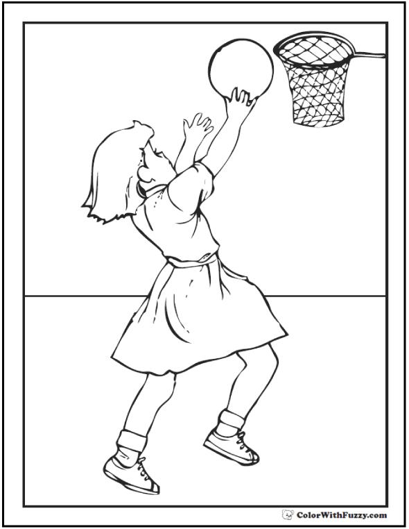 Basketball Girl Coloring Page