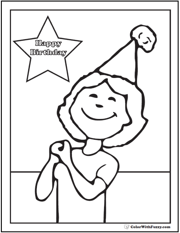Girl Birthday Coloring Page - Happy birthday message and party hat.