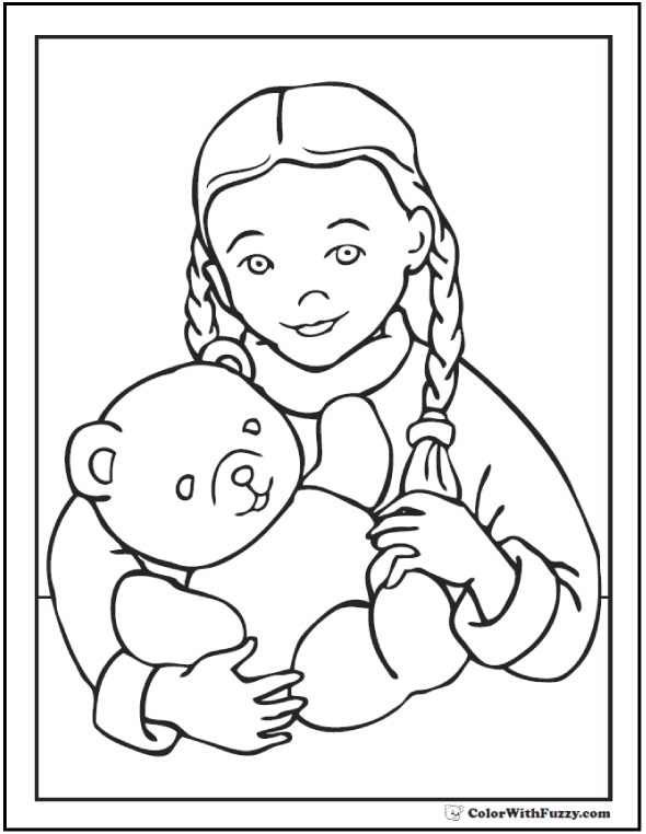 Girl And Teddy Bear Coloring Page