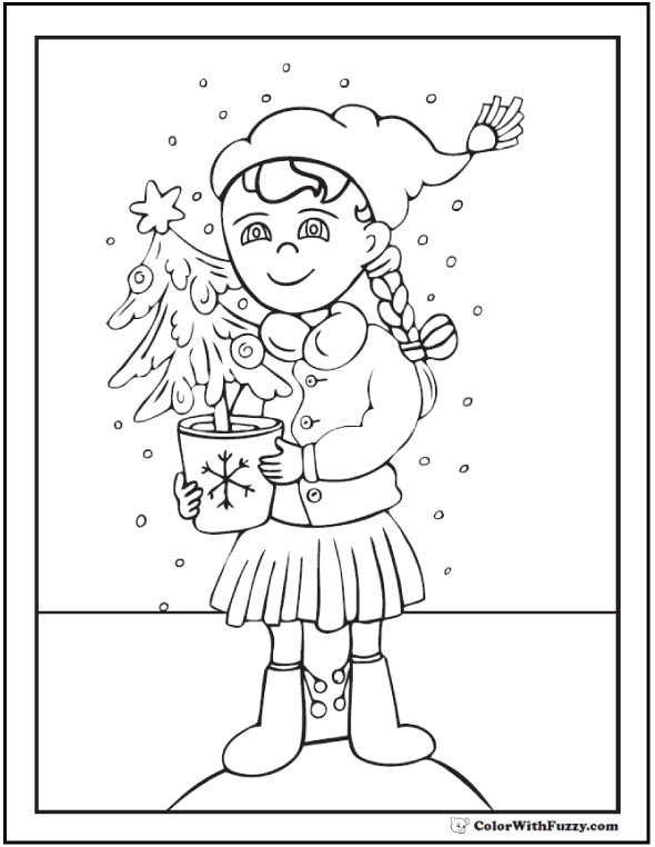 Girl Christmas Tree Coloring Picture: snow, hat, boots