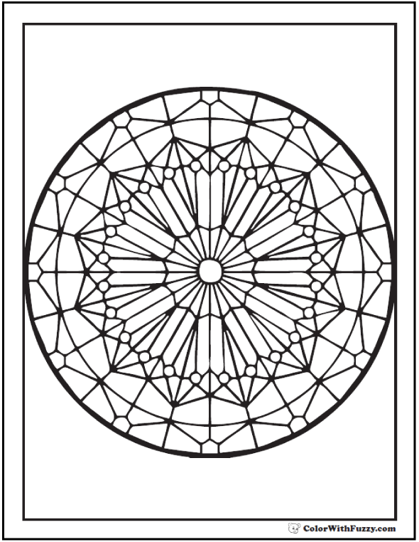 Adult Coloring Sheet Stained Glass Kaleidoscope