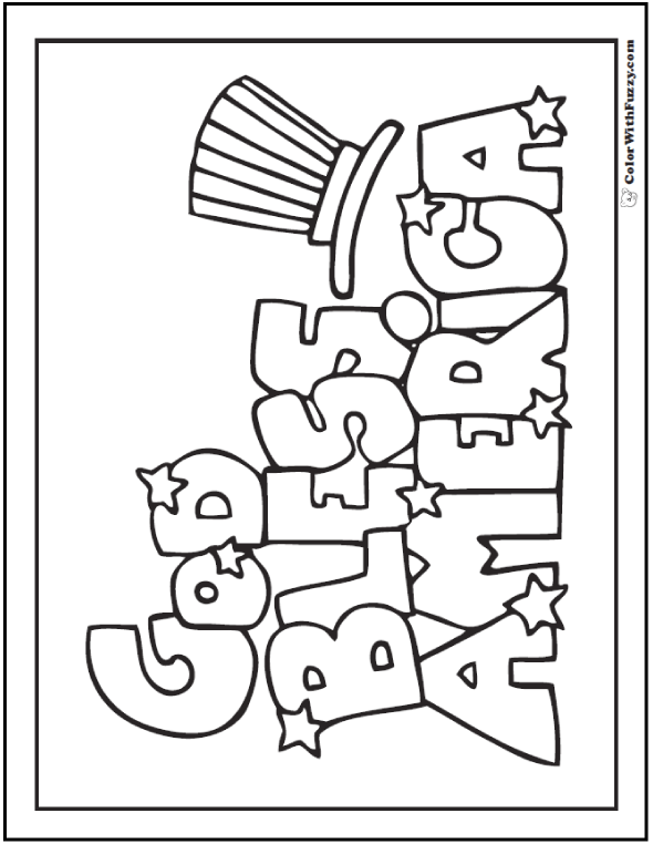 God bless America! Fourth of July coloring page.