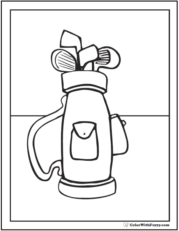Clubs And Golf Bag To Color