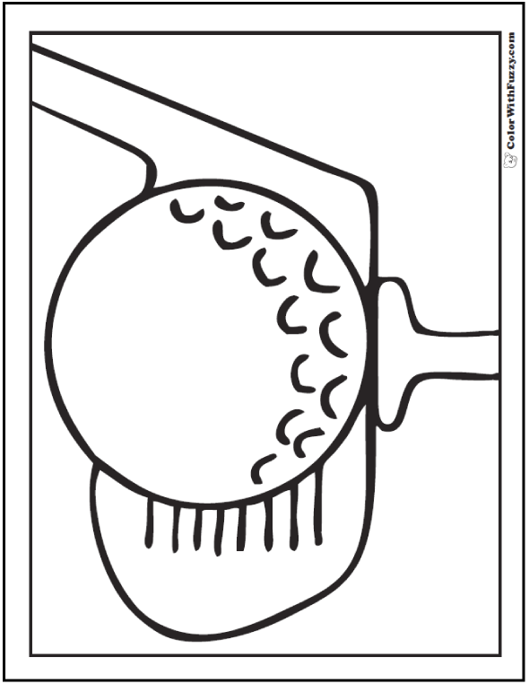 Golf Ball Coloring Page: Ball, Tee, and Putter