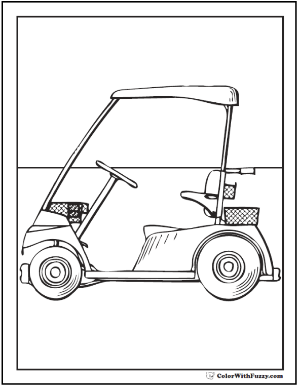 Golf Cart Coloring Picture