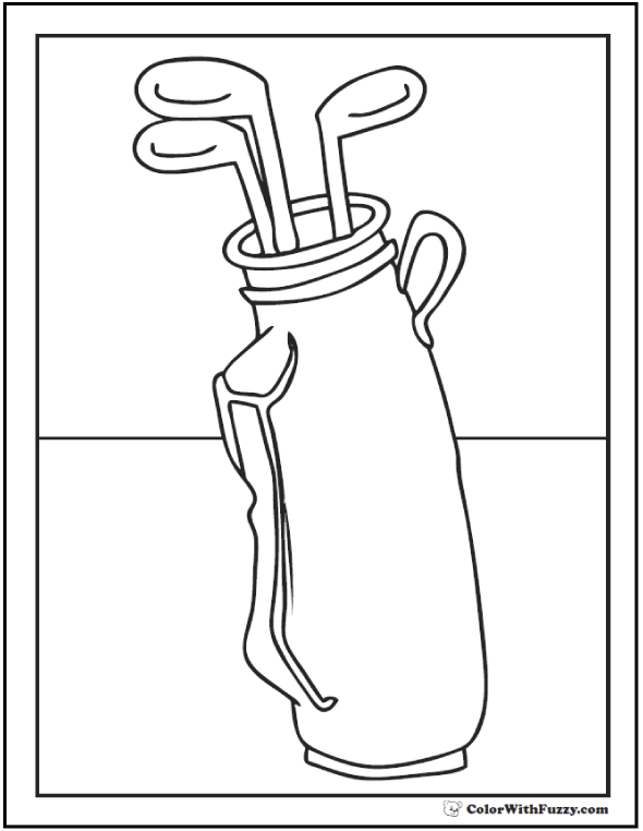 Golf Coloring Page: Golf Bag And Clubs