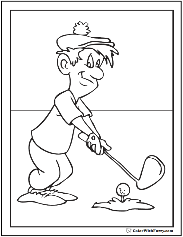 coloring book pages golf clubs - photo#27