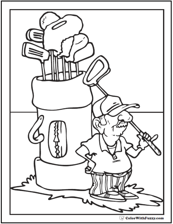 Golf Coloring Sheet: Caddy, Bag, And Clubs
