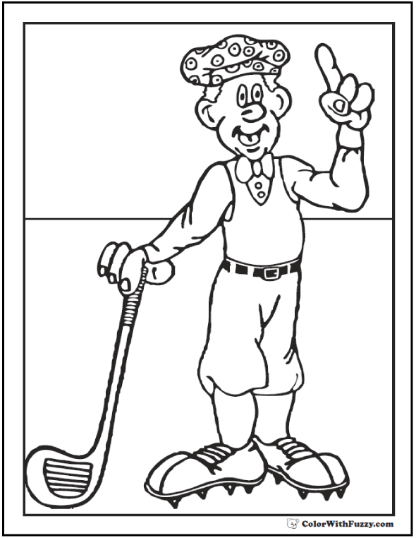 Golfer Coloring Sheet