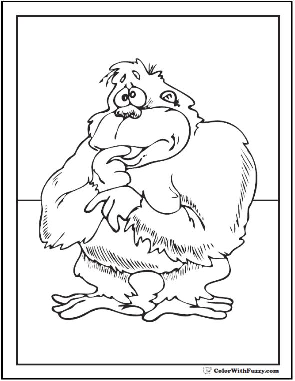 Shy gorilla printable.