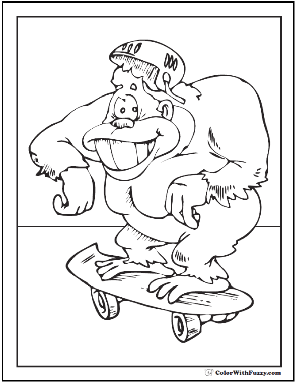 Gorilla coloring pictures: Skateboard!