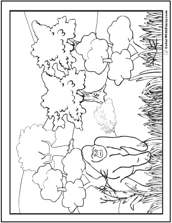 Neat gorilla habitat coloring pages for kids.