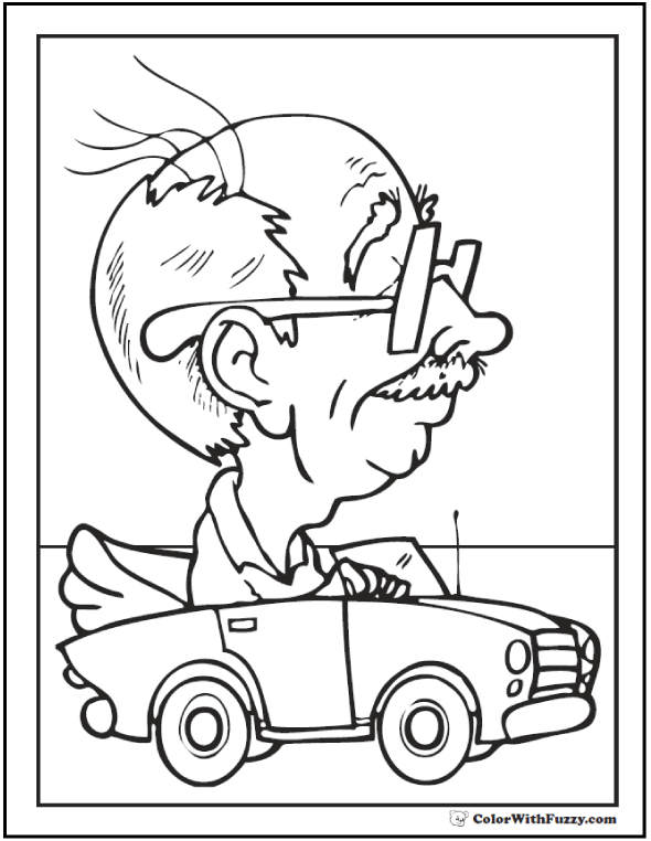 Grandpa Fathers Day Coloring Pages: Granddad's driving a fast little car!