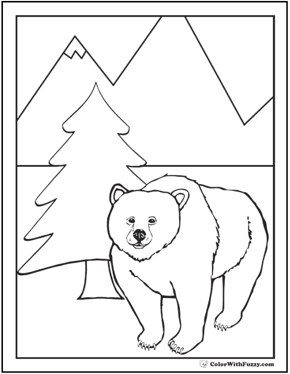 Coloring Sheet Of A Great North Grizzly Bear