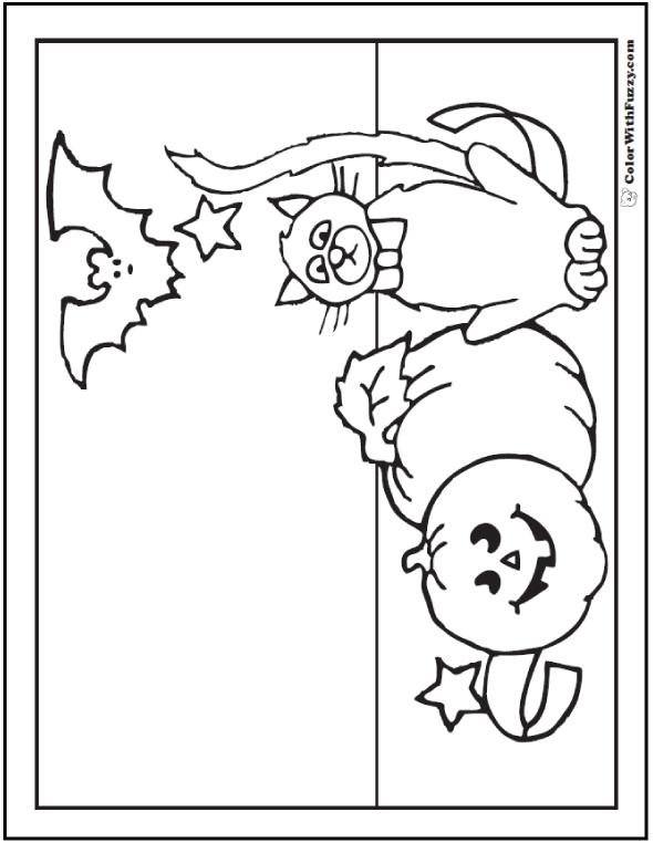 Halloween Cat Coloring Page: Jack O'Lantern, Bat, Pumpkin