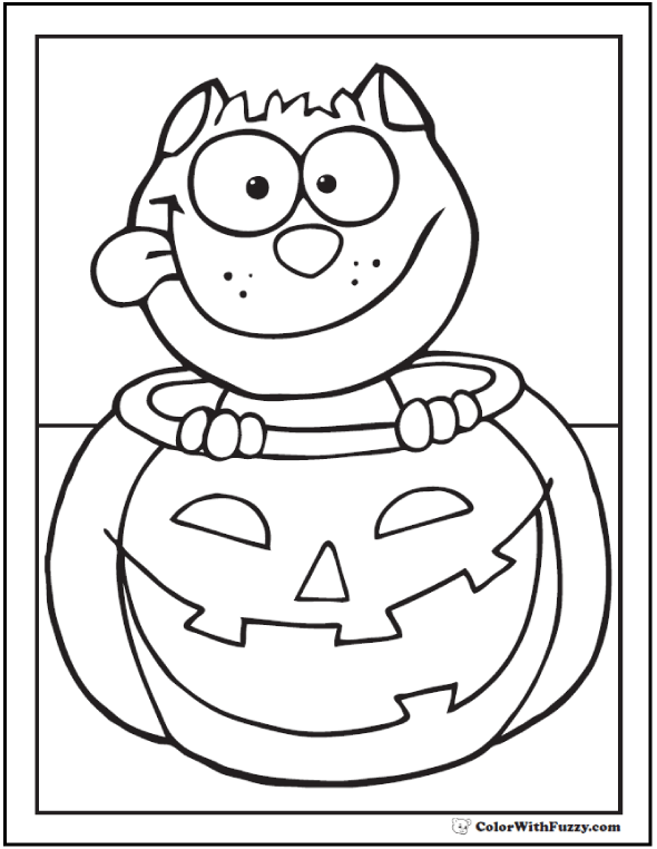 Halloween Pumpkin Cat Coloring Pages 1 | Purple Kitty | 762x590