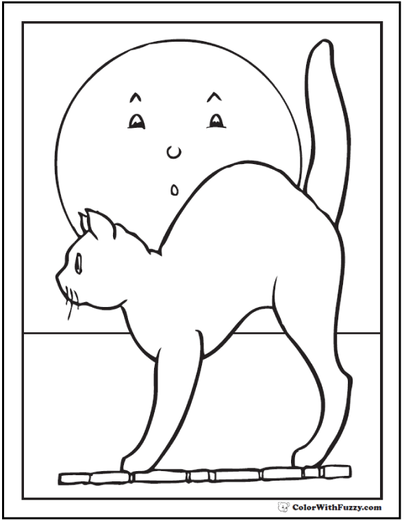 Halloween coloring pages: Moon And Halloween Cat.