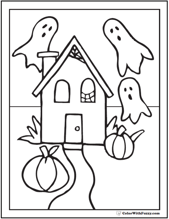 House, Ghosts, Pumpkins Halloween Coloring Book Pages