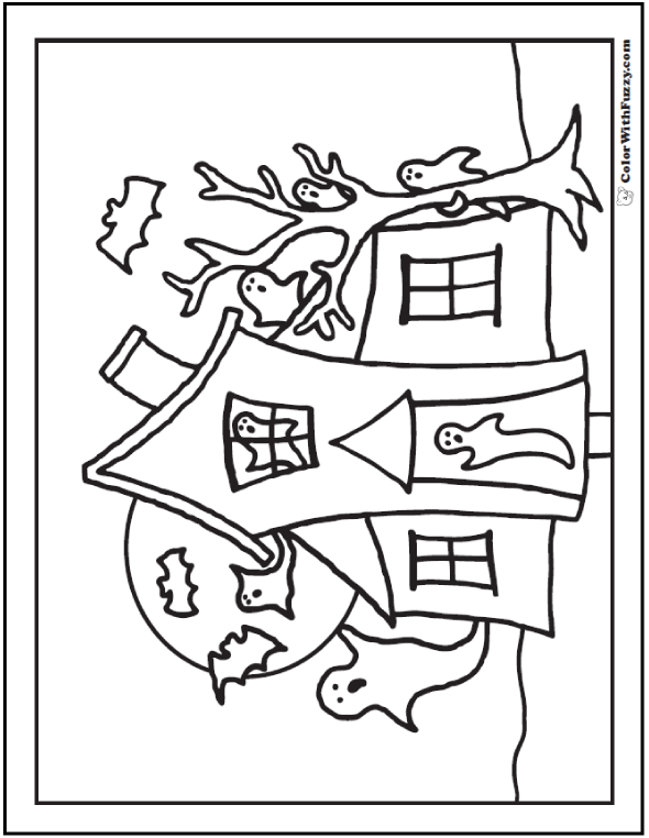 Moon, Ghosts, House, Tree Halloween Coloring Pictures