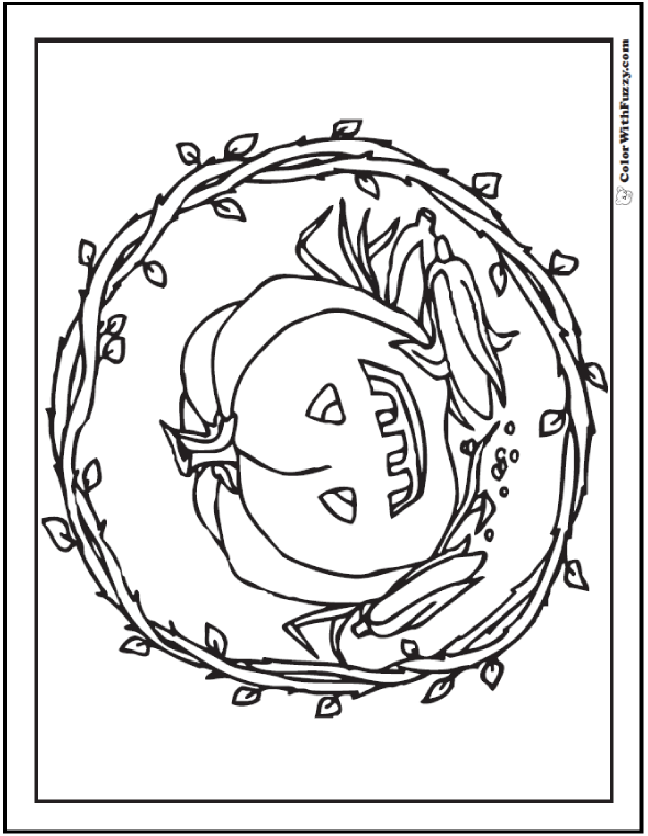 70+ Halloween Printable Coloring Pages: Pumpkin Vine Jack O'Lantern
