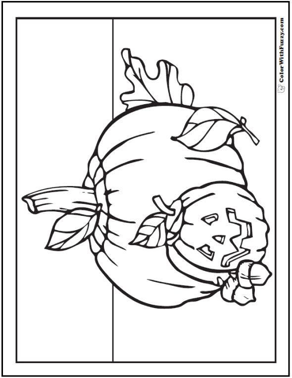 Halloween Coloring Pages: Pumpkin, Acorn, Leaves Printables
