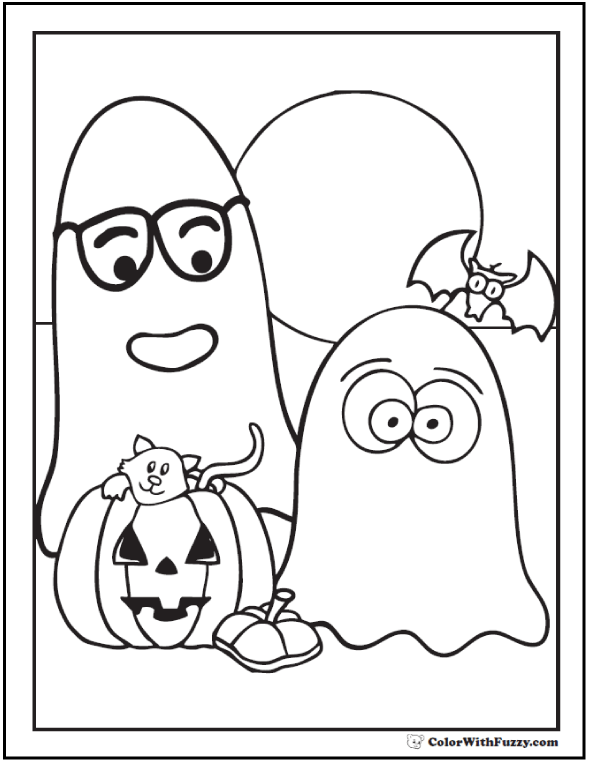 Printable Halloween Coloring Page: Ghosts, pumpkin, bat, and cat against a moonlit background. Cool!