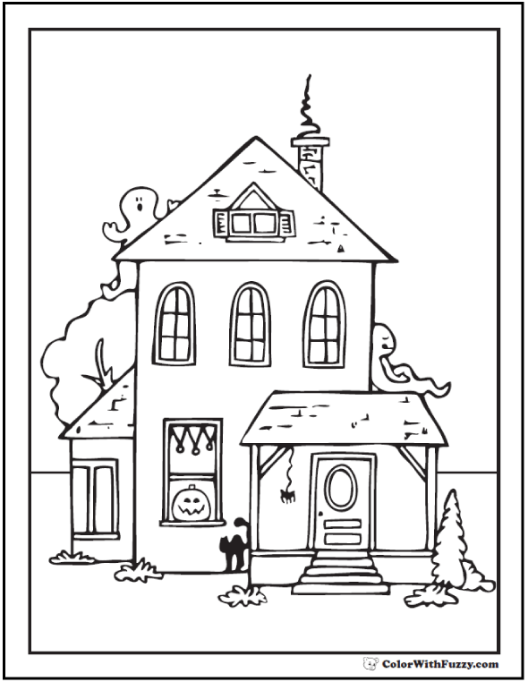 Halloween coloring pages: House, Ghost, Cat Halloween Coloring Sheet