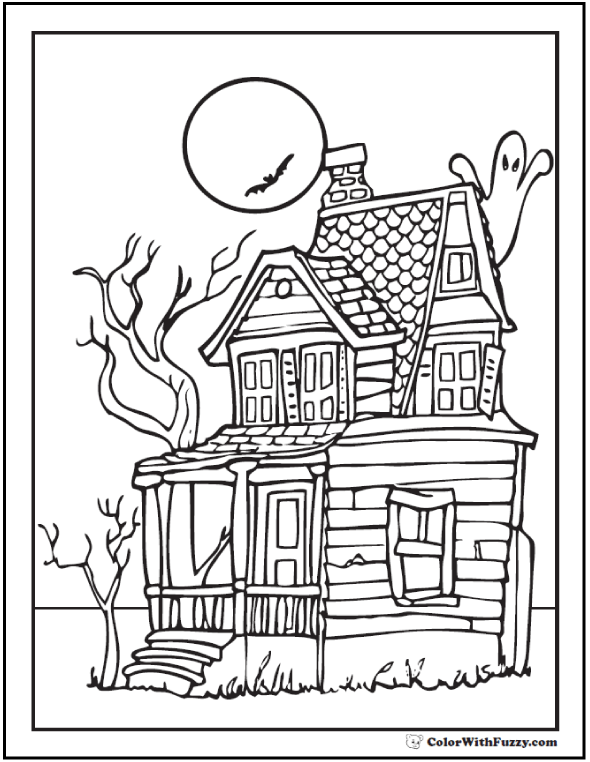 Adult Halloween Coloring Pages: Old House, Moon, Trees
