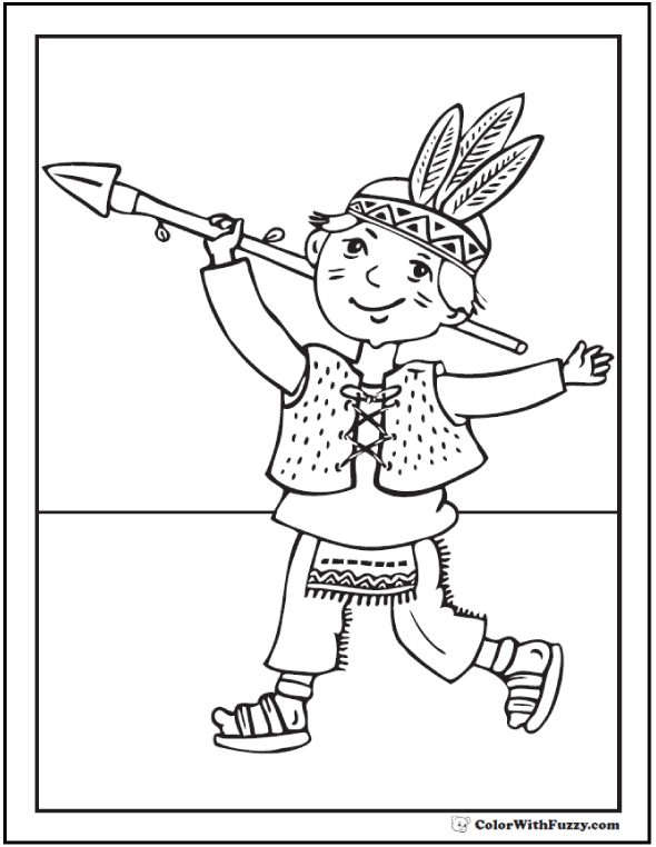 one little indian with arrow halloween costume coloring page