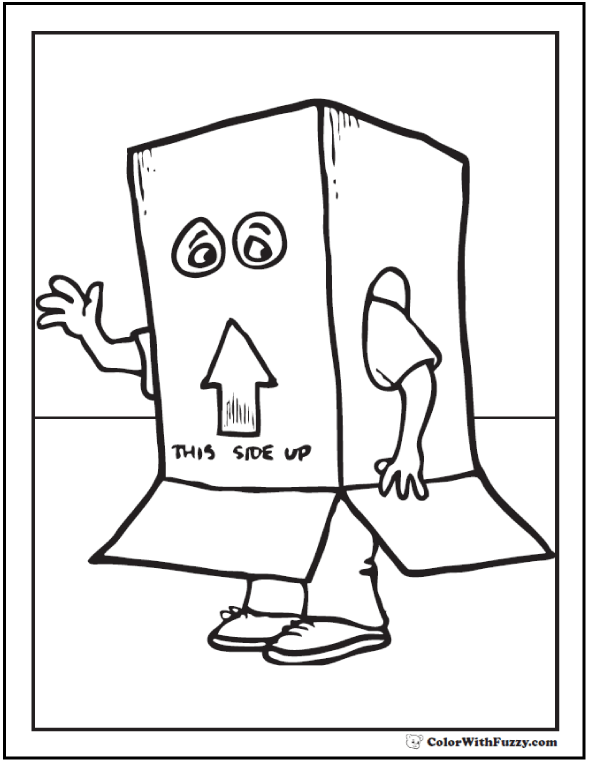 Halloween Custome Coloring: Disguised As A Box