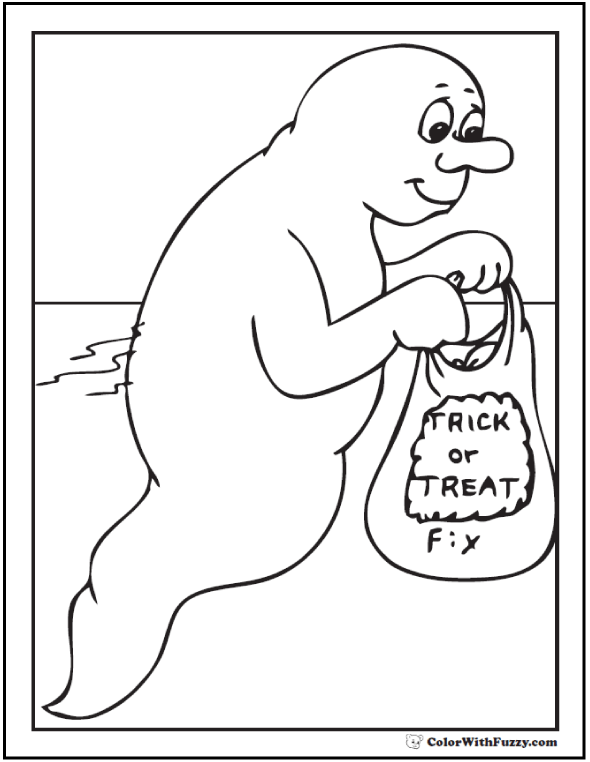 Halloween Ghost Coloring Pages: Trick Or Treat