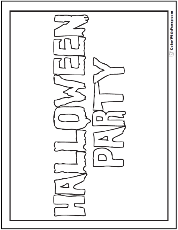 Adult Halloween Coloring Page: Halloween Party Banner To Color
