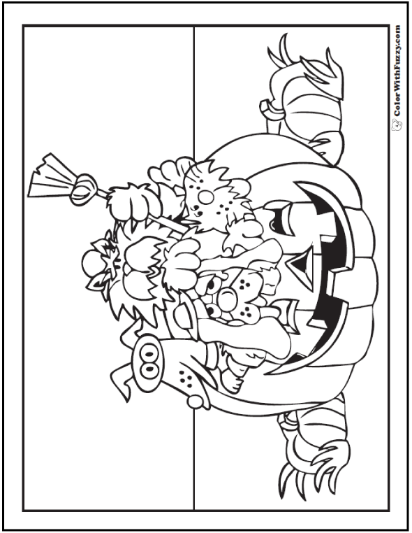 Halloween coloring pages: Halloween Party Pumpkin and friends