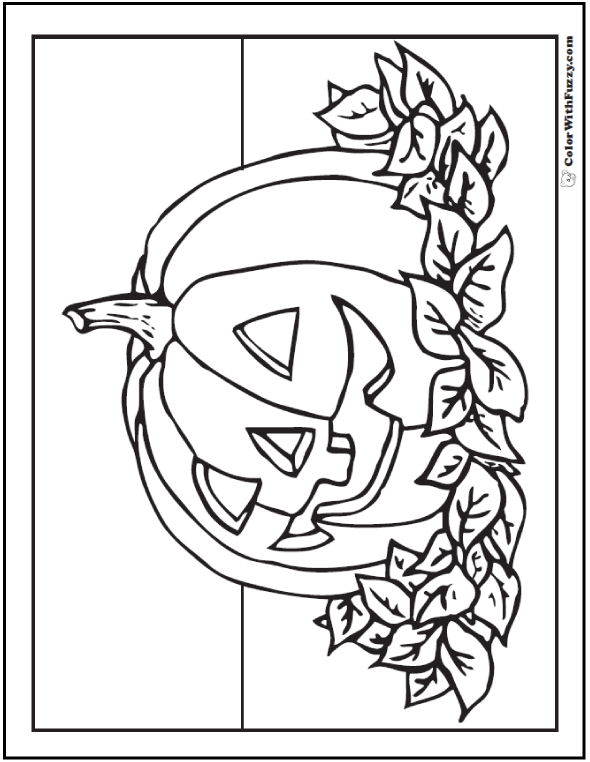 Halloween Printable Coloring Pages: Pumpkin And Leaves
