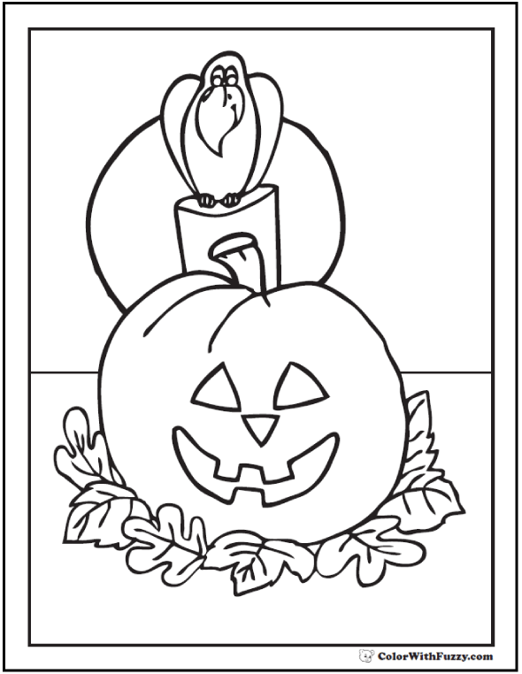 Halloween coloring pages: Raven Or Crow In Pumpkin Patch