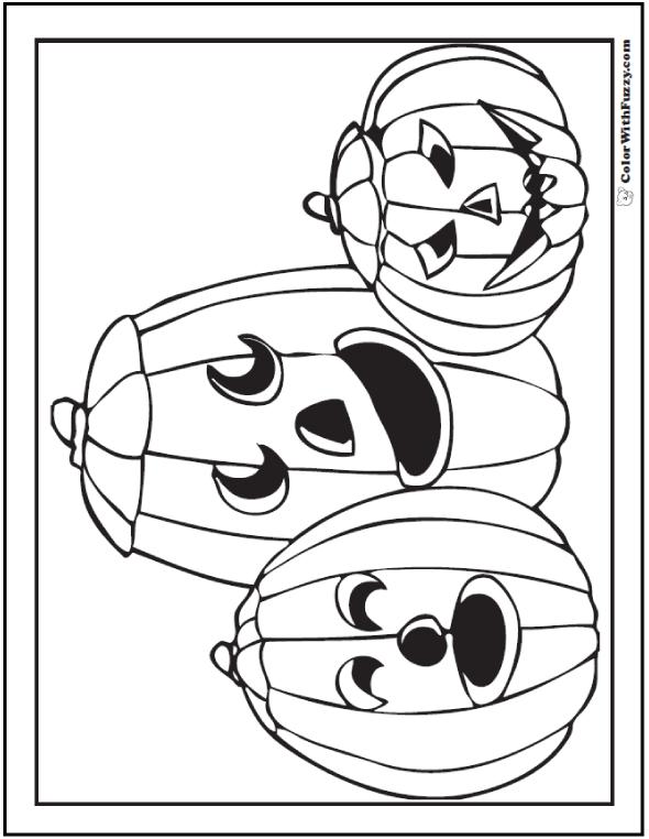 Three Happy Halloween Pumkins To Color