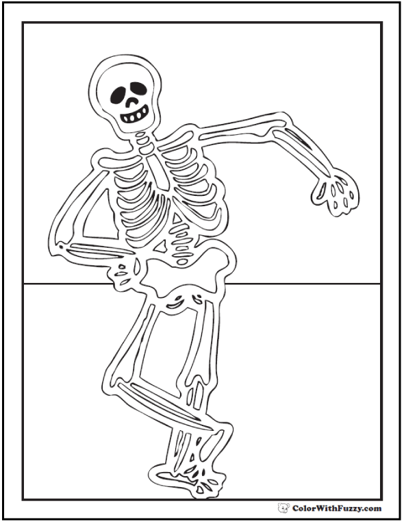 Dancing Halloween Skeleton Coloring Pages