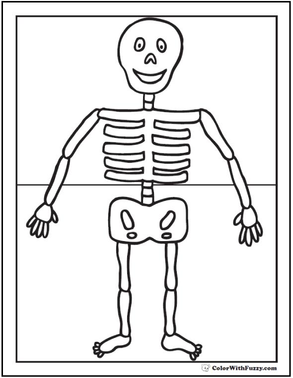 Easy Halloween Skeleton Coloring Sheet For Preschool