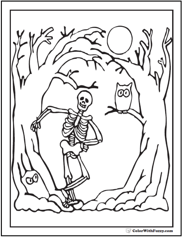 Halloween Skeleton Coloring Page: Trees, Owl, Moon