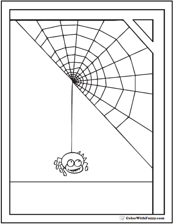 Halloween Spider Coloring Sheet: Web In Corner