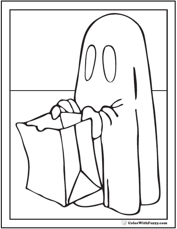 Halloween coloring pages: Gobblin Begging Halloween Treats