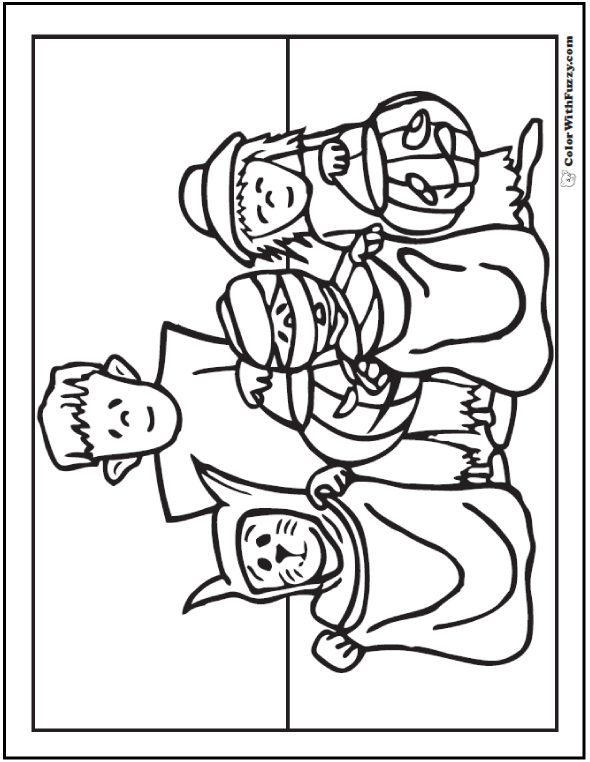 Halloween Trick Or Treat Coloring: Kids Costumes coloring page