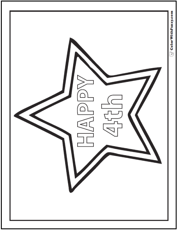 Happy 4th Fourth of July coloring page.
